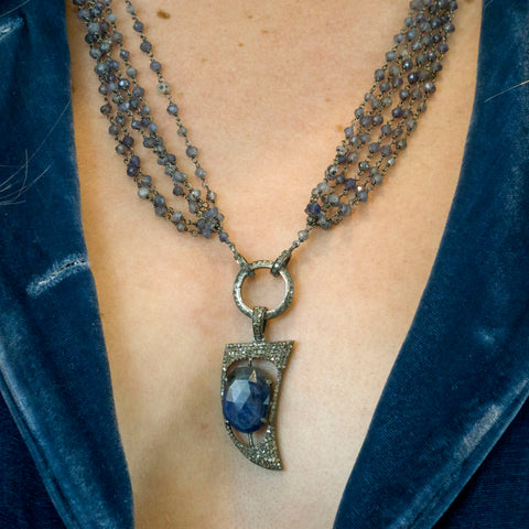 Blue Sapphire and Pave Diamonds Horn Pendant Necklace