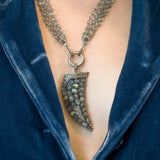 Labradorite and Pave Diamonds Horn Pendant Necklace - Labradorite Necklace