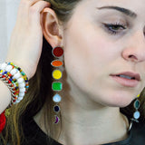 Rainbow Pave Diamonds Earrings