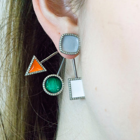 Enamel Pave Diamond Ear Jackets Earrings (Grey and Orange)