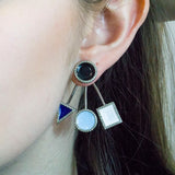 Enamel Pave Diamond Ear Jackets Earrings (Blue and White)