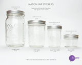 Four mason jars in descending size, showing dimensions of the lids. Lux Party logo.