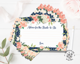 A stack of Lux Party's advice for the bride-to-be advice cards for bridal shower, with pastel flowers, a navy blue border, and gold lettering.
