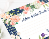 Close up of Lux Party's advice for the bride-to-be advice cards for bridal shower, with pastel flowers, a navy blue border, and gold lettering. Lux Party logo.