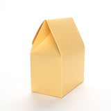 Side view of a gold favor box by Lux Party on a white background.