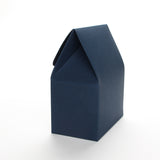 Side view of a navy blue favor box by Lux Party on a white background.