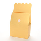Lux Party's gold favor box with scalloped lid open, showing a velcro closure.