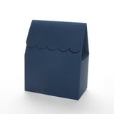 Navy blue favor box by Lux Party with a scalloped edge on a white background.
