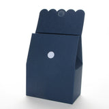 Lux Party's navy blue favor box with scalloped lid open, showing a velcro closure.