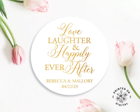 Lux Party's round love laughter and happily ever after personalized wedding sticker with a white background and gold text, surrounded by pink tulips.