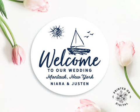 Lux Party's round personalized welcome to our wedding sticker with a white background and navy blue beach theme, surrounded by pink tulips.