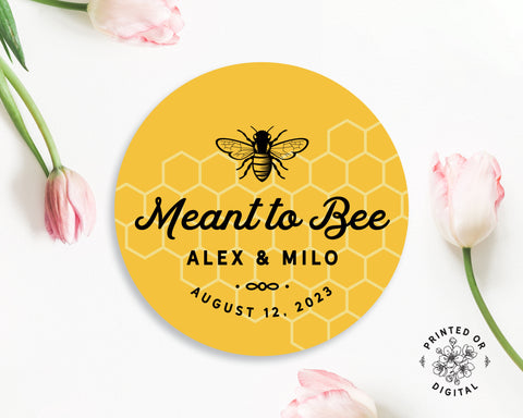 Lux Party's round meant to bee personalized sticker with yellow background surrounded by pink tulips.