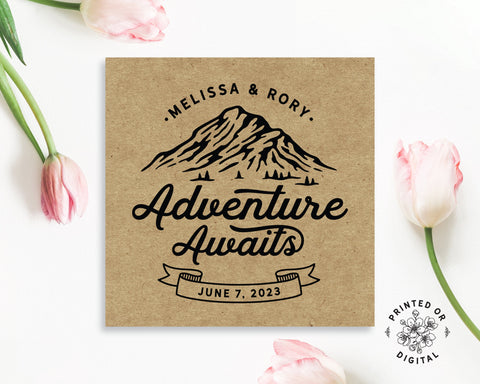 Lux Party's square personalized adventure awaits sticker with brown kraft background, surrounded by pink tulips.