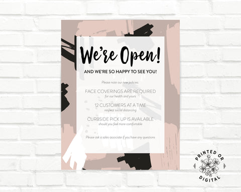 Lux Party's we're open poster with modern blush and back abstract background and black lettering on a white brick wall.