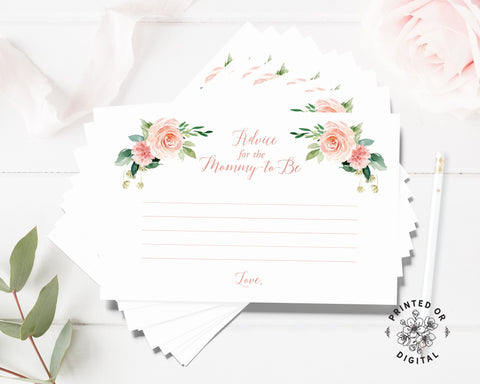 A stack of Lux Party's advice for the mommy-to-be advice cards for baby shower, with pink flowers and pink lettering.