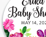 Close up of Lux Party's round personalized baby shower sticker with black script and bright cactus flowers.