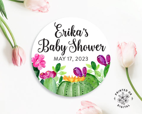 Lux Party's round personalized baby shower sticker with black script and bright cactus flowers, surrounded by pink tulips.