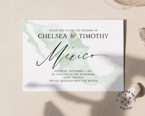A destination wedding invitation with a light green watercolor map of Mexico and black text, on a beige background. Lux Party logo.