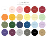 Lux Party color options chart, showing 24 different colors, for customized stickers.