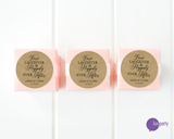 Three pink favor boxes with round love, laughter, & happily ever after brown kraft stickers affixed. Lux Party logo.