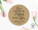 Lux Party's round love, laughter, & happily ever after sticker with brown kraft background surrounded by pink tulips.