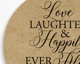 Close up of Lux Party's round love, laughter, & happily ever after sticker with brown kraft background.