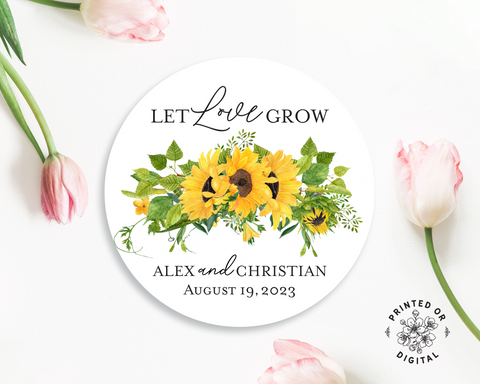 Lux Party's round let love grow wedding sticker with black text in a sunflower wreath, surrounded by pink tulips.