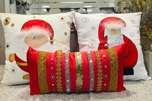 Ribbons and Stones Rectangular Christmas Pillow