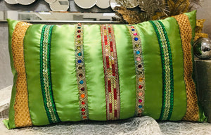 Ribbons and Stone Rectangular Christmas Pillow