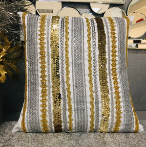Ribbons and Stones Christmas Pillow