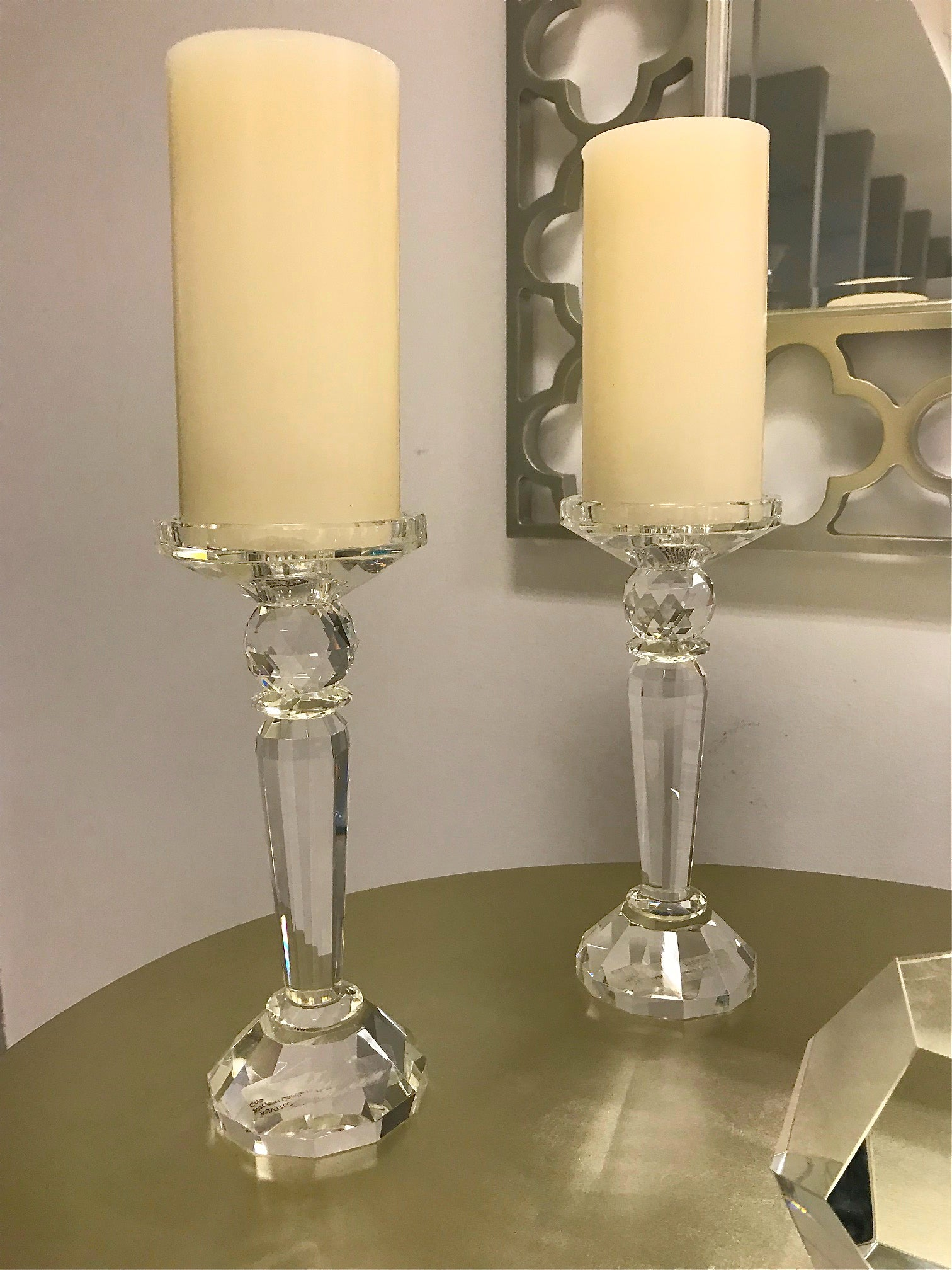 "Crystal Candle Holder - 8.5""tall"