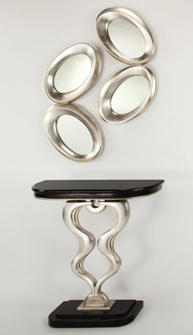Console Table Black & Silver Leaf