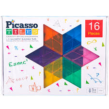 Picasso Tiles 3D Magnetic Building Tiles: 16 Pieces