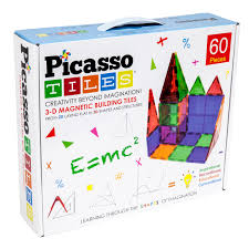 Picasso Tiles 3D Magnetic Building Tiles: 60 Pieces
