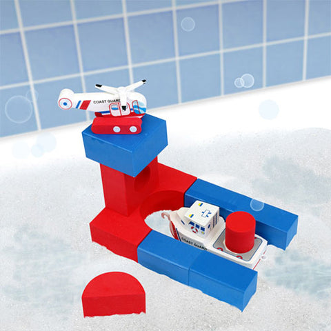 Bath Blocks: Coast Guard Ship and Helicopter