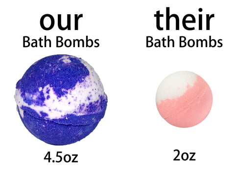 large bath bomb size comparison