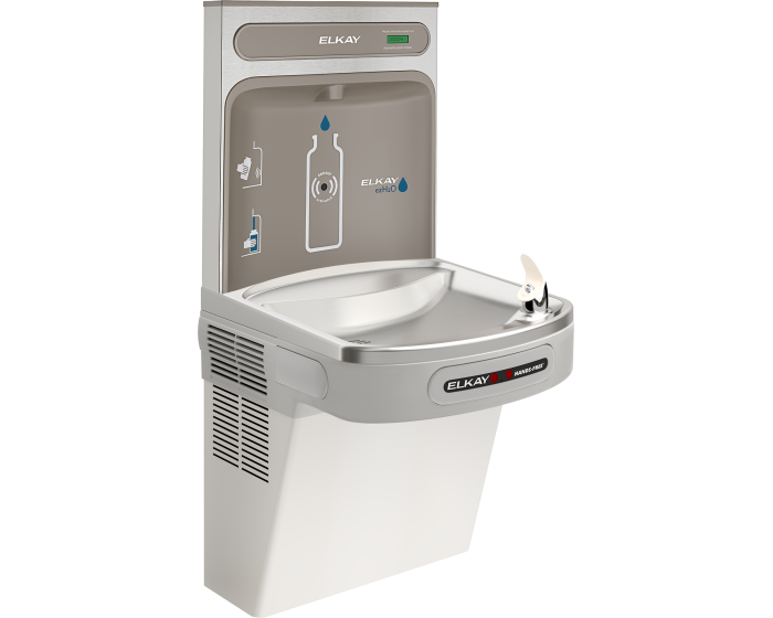 Elkay EZO8WSLK | Wall-mount Bottle Filling Station | Filterless, Refrigerated, EZ-style fountain, Hands-free, Granite Gray - BottleFillingStations.com