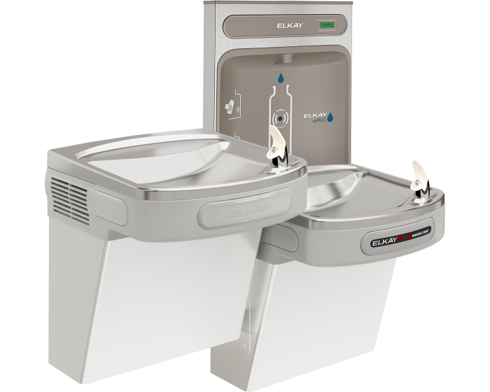 Elkay EZOTL8WSLK | Wall-mount Bi-level Bottle Filling Station | Filterless, Refrigerated, EZ-style fountain, Hands-free, Granite Gray - BottleFillingStations.com