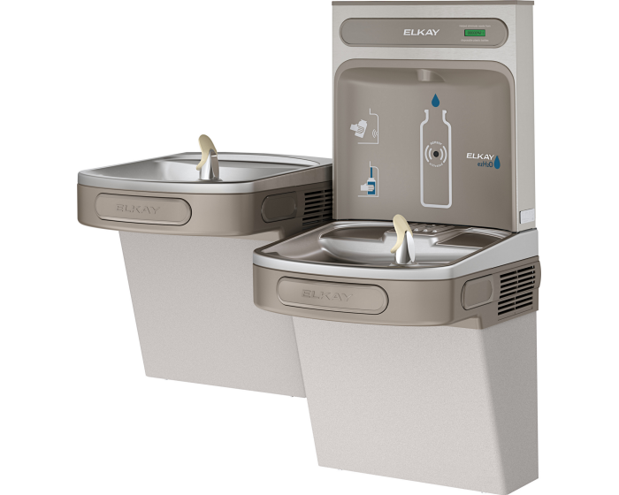 Elkay EZSTL8WSLK | Wall-mount Versatile Bi-Level Bottle Filling Station | Filterless, Refrigerated, EZ-style fountains, Granite Gray -
