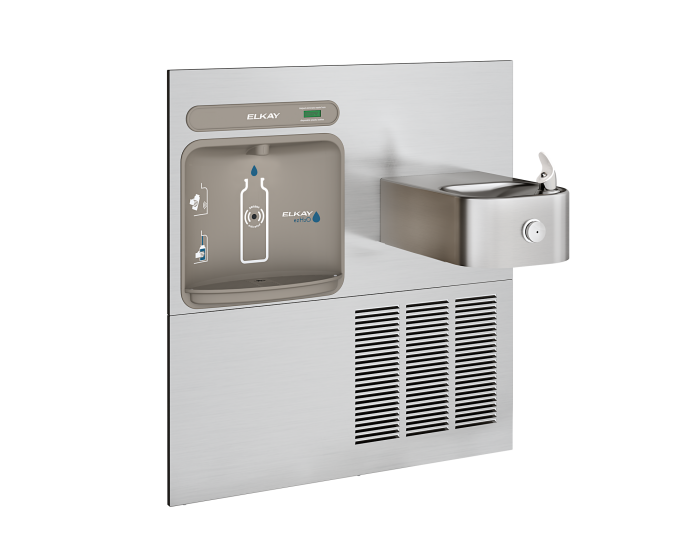 Elkay EZWS-ERFP8-RF | In-wall Retrofit Bottle Filling Station | Filterless, Refrigerated, For use with Soft-sides fountains, Stainless Steel - BottleFillingStations.com