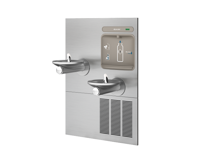 Elkay EZWS-ERPBM28K | In-wall Bi-Level Bottle Filling Stations l Filterless, Refrigerated, SwirlFlo fountains, Stainless Steel (comes with a Mounting Frame) - BottleFillingStations.com