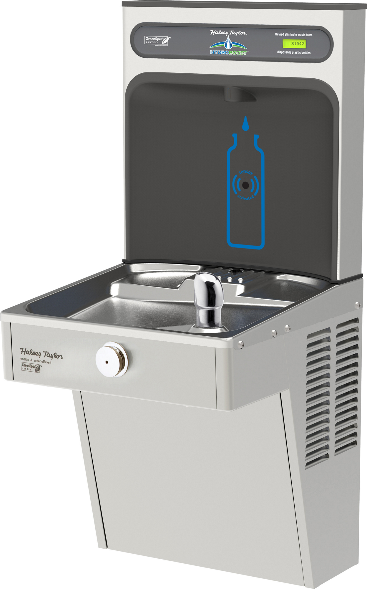 Halsey Taylor HTHB-HVRGRN8-NF | Wall-mount Bottle Filling Station | Filterless, High-efficiency chiller, HVR-style fountain
