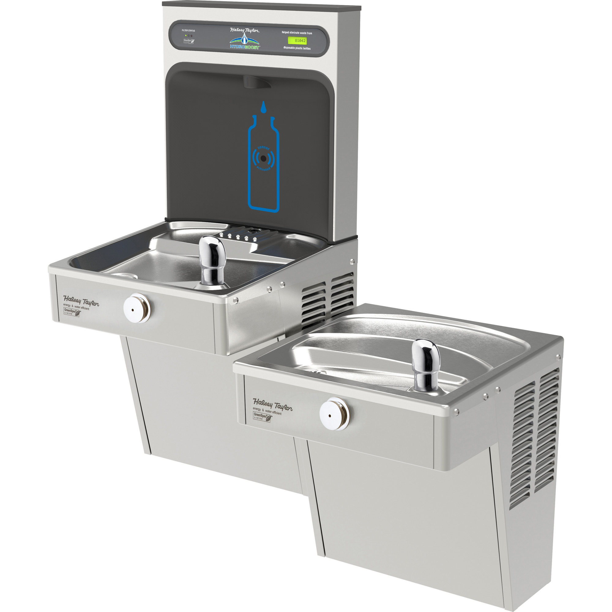 Halsey Taylor HTHB-HVRGRN8BL-WF | Wall-mount Bi-level Bottle Filling Station | Filtered, High-efficiency chiller, HVR-style fountain