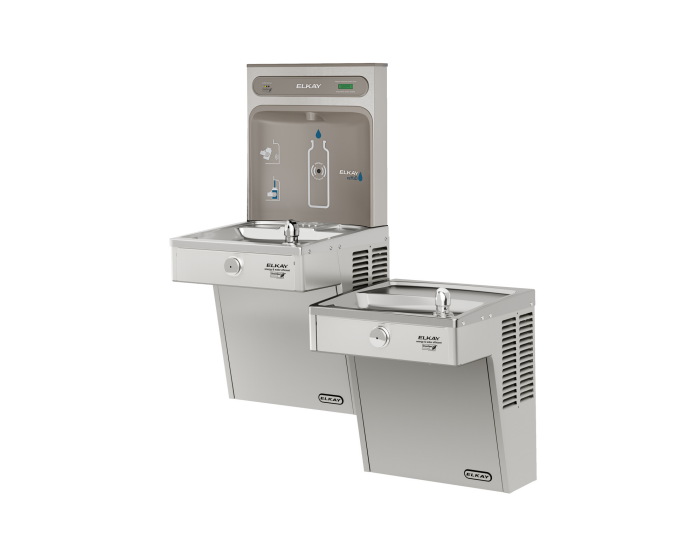 Elkay LVRCGRNTL8WSK | Wall-mount Bi-level Bottle Filling Station | Filtered, High-efficiency chiller, VRC-style fountain - BottleFillingStations.com