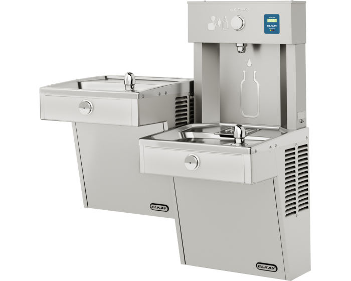 Elkay LVRCTL8WSK  | Wall-mount Bi-level Bottle Filling Station | Filtered, Refrigerated, VRC-style fountains, Fully Vandal-resistant - BottleFillingStations.com