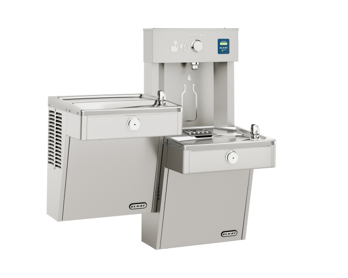 Elkay LVRCTLDDWSK | Wall-mount Bi-Level Bottle Filling Station | Filtered, Non-refrigerated, VRC-style fountains, Fully Vandal-resistant - BottleFillingStations.com