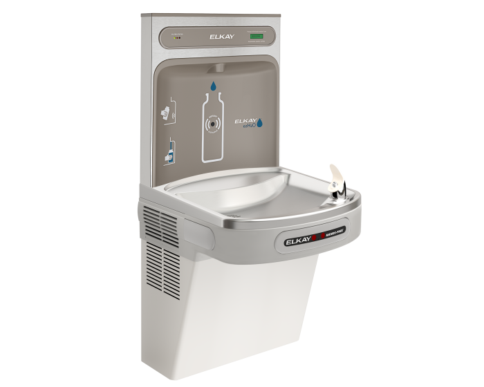 Elkay LZO8WSLK | Wall-mount Bottle Filling Station | Filtered, Refrigerated, EZ-style fountain, Hands-free, Granite Gray - BottleFillingStations.com