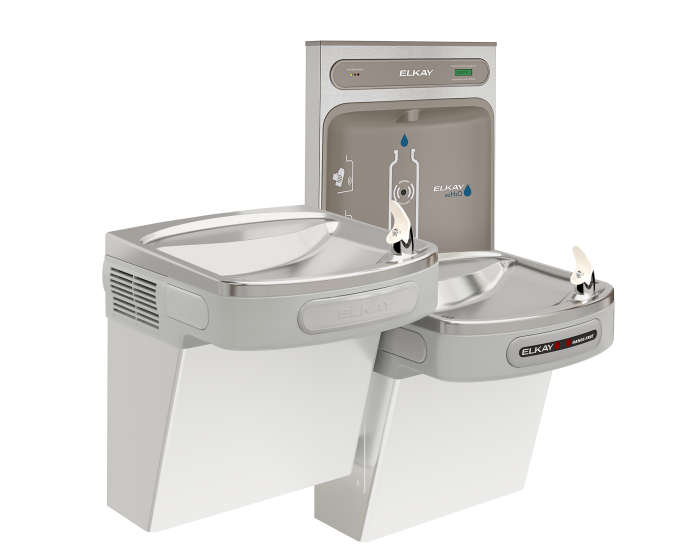 Elkay LZOTL8WSLK | Wall-mount Bi-level Bottle Filling Station | Filtered, Refrigerated, EZ-style fountain, Hands-free, Granite Gray - BottleFillingStations.com