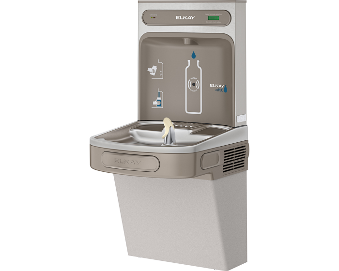 Elkay LZS8WSLK | Wall-mount Bottle Filling Station | Filtered, Refrigerated, EZ-style fountain, Granite Gray - BottleFillingStations.com