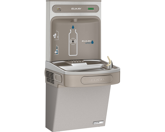 Elkay LZSG8WSLK | Wall-mount Bottle Filling Station | Filtered, High-efficiency chiller, EZ-style fountain, Granite Gray - BottleFillingStations.com
